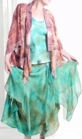Cosette skirt with charmeuse camisole & butterfly jacket