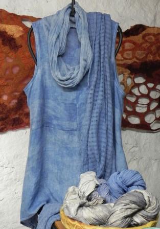 indigo-dyed linen tunic