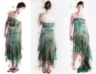Hand-dyed stretch silk skirt/dress