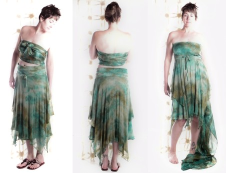 Hand-dyed stretch silk skirt/dress