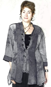 Silk 3/4 pieced swing-jacket; hand-dyed
